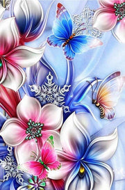 Three Butterfly with Flowers - Diamond Painting Corner