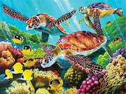 Three Turtles Swimming Diamond Painting Kit - Diamond Painting Corner