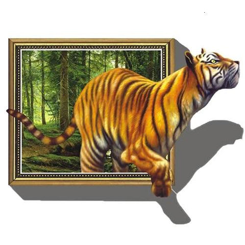 Tiger Getting Out of Picture 02 Diamond Painting Kit - Diamond Painting Corner
