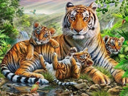 Tiger with Cubs 01 Diamond Painting Kit - Diamond Painting Corner
