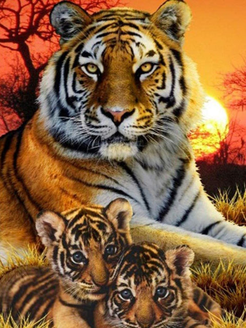 Tiger with Cubs in the Sunset - Diamond Painting Corner