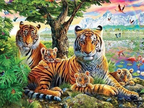 Tigers Family 02 Diamond Painting Kit - Diamond Painting Corner