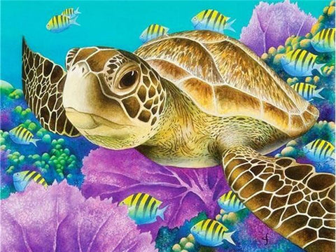 Turtle with Yellow Fish Diamond Painting Kit - Diamond Painting Corner