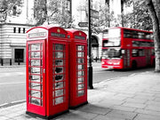 Two London Telephone Boxes with B&W - Diamond Painting Corner