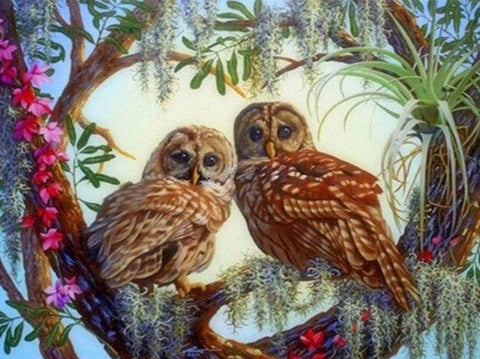 Two Owls on Branches Diamond Painting - Diamond Painting Corner