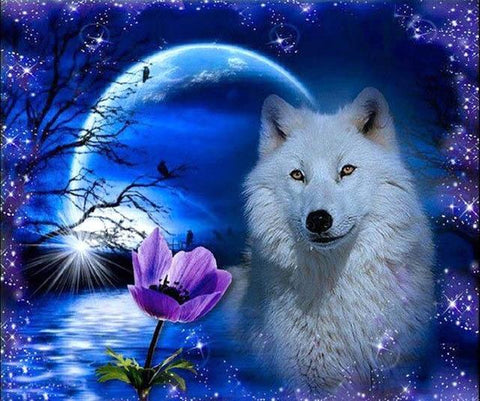 White Wolf & Blue Moon Diamond Painting Kit - Diamond Painting Corner