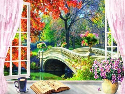 Window to an Autumn Bridge - Diamond Painting Corner