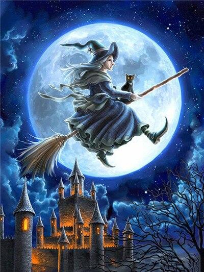 Witch Flying on Her Broom - Diamond Painting Corner