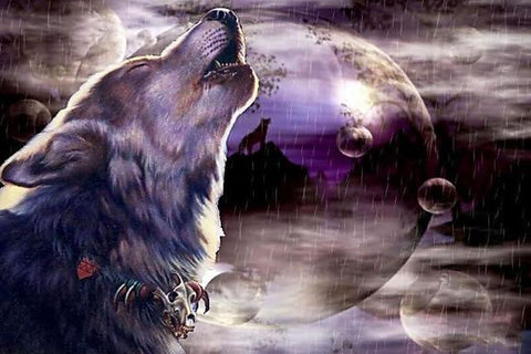 Wolf Howling in Night Diamond Painting Kit - Diamond Painting Corner