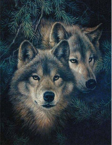Wolves and Fir Leaves Diamond Painting - Diamond Painting Corner