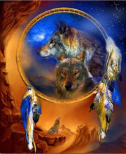 Wolves & Feathers 03 Diamond Painting Kit - Diamond Painting Corner