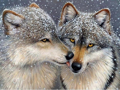 Wolves Greeting 02 Diamond Painting Kit - Diamond Painting Corner