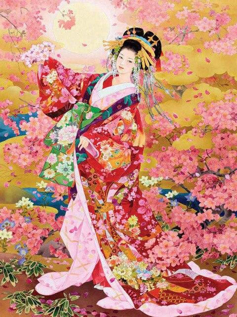 Woman with Kimono & Cherry Blossom - Diamond Painting Corner