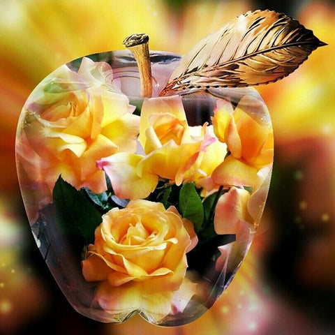 Yellow Roses Inside Crystal Apple - Diamond Painting Corner