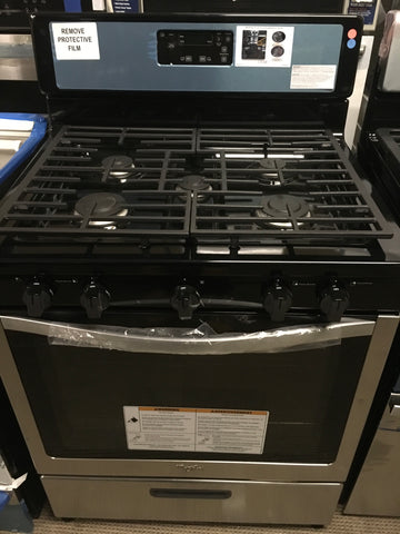 Whirlpool stainless steel gas range Model # WFG505M0BS