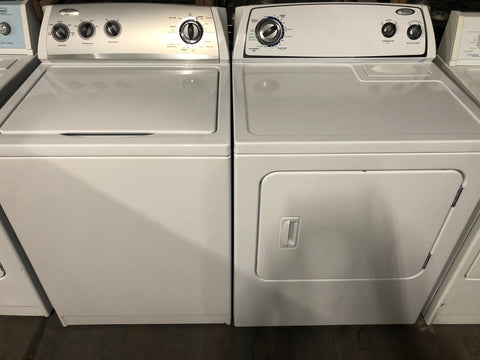 WHIRLPOOL TOP LOAD WASHER AND ELECTRIC DRYER BUNDLE..