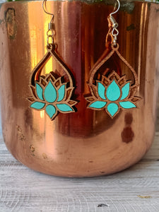 Wood Lotus Earrings