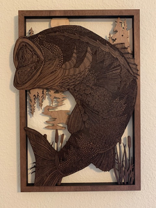 Bass Fish Layered Art
