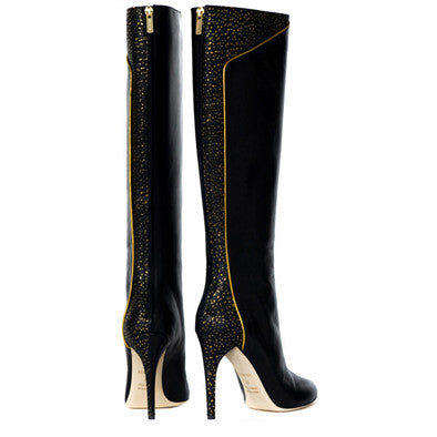 Leather Knee Boots Luxury Designer Shoes High Heels Womens