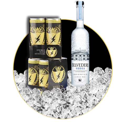 8 x DELUX ENERGY & BELVEDERE VODKA 70 CL