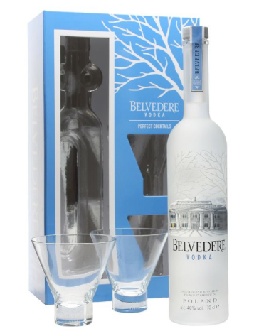 Belvedere Vodka 70cl & 2 Martini Glasses Vodka sæt