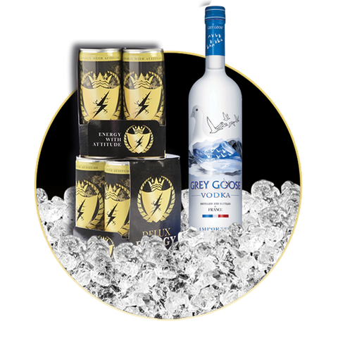 8 x DELUX ENERGY & GREY GOOSE VODKA 70 CL