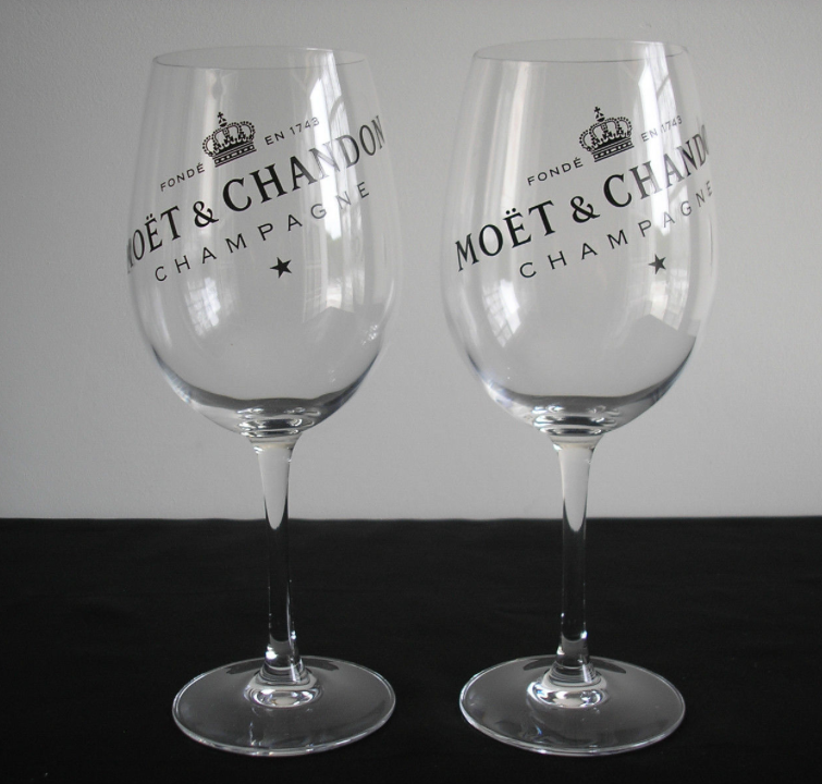2 x Moët & Chandon Logo Transparrent Glas - Limited Edition