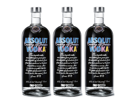 3 x Absolut Vodka by Andy Warhol - Limited Edition