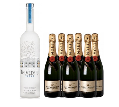 1 x Belvedere Vodka 3L + 6 x Moët & Chandon Brut 75cl