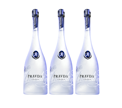 3 x Pravda Vodka 40% 70cl