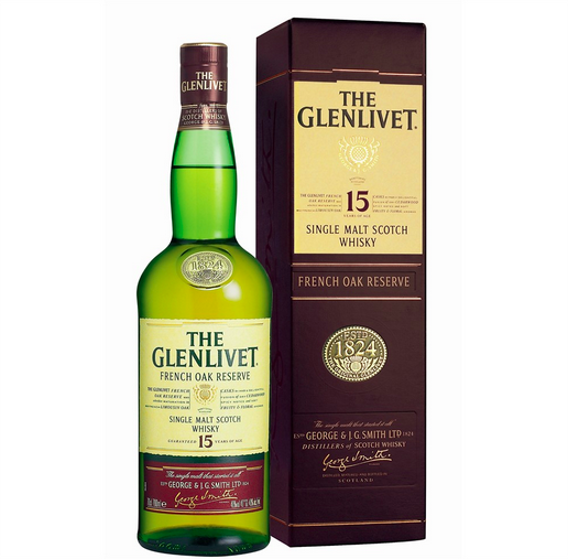 Glenlivet Single Malt 15 års Whisky 40% 70 cl.