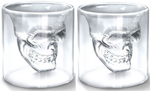 2 x Skull Head Shotsglas - 7 CL