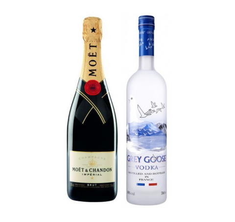 Moët & Chandon, Brut Imperial 75 cl Champagne  og Grey Goose Vodka, 70 Cl