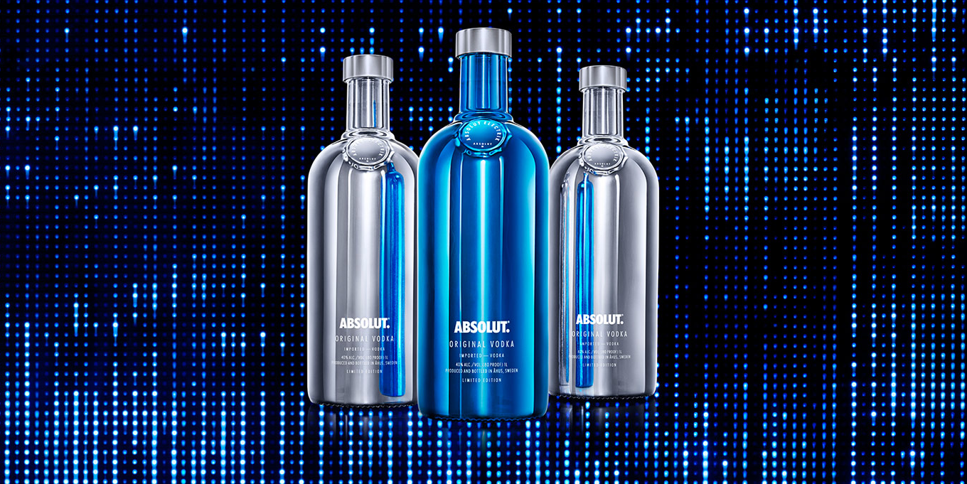 4 x Absolut Vodka Electrik Silver + Blue