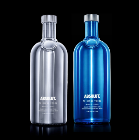 2 x Absolut Vodka Electrik Silver + Blue