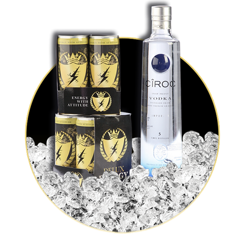 8 x DELUX ENERGY & CIROC VODKA 70 CL