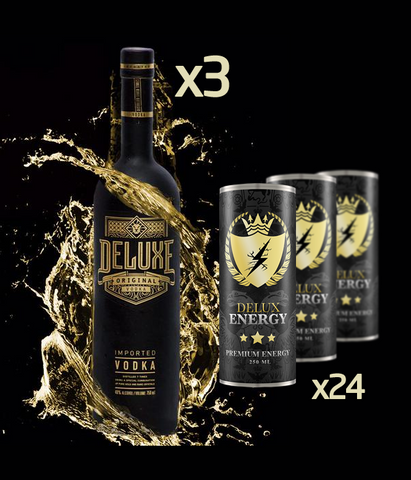 3 x  Deluxe Vodka 70cl  & 24 Delux Energy