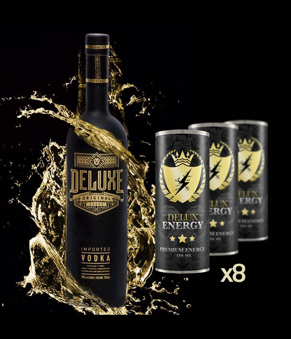 Deluxe Vodka 70cl & 8 Delux Energy