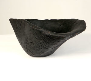 Burnt oak wooden bowl
