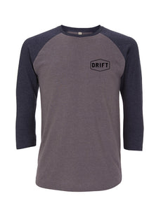Drift baseball tee grey with blue sleeve - Unisex
