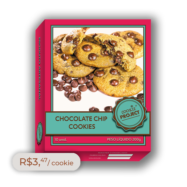Caixa Cookies Congelados Sabor Chocolate Chips