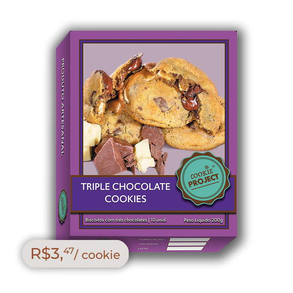 Caixa Cookies congelados Sabor Triple Chocolate