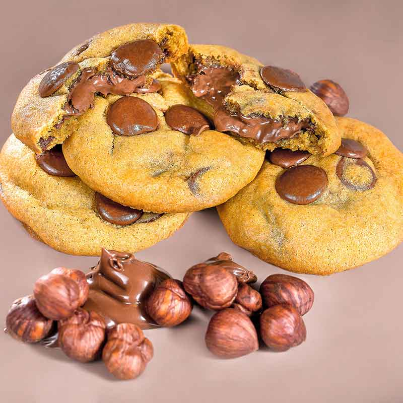 Caixa com 10 mini Cookies Hazelnut Cream (Nutella) (27gr)