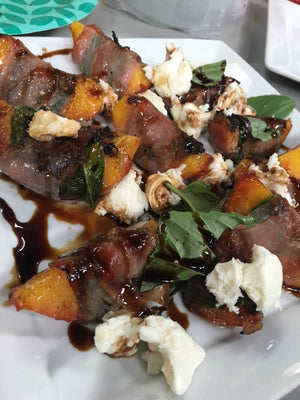 Grilled Peaches with Prosciutto & Balsamic Drizzle