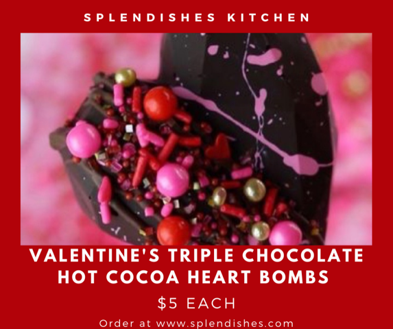 Valentine's Triple Chocolate Hot Cocoa Heart Bombs