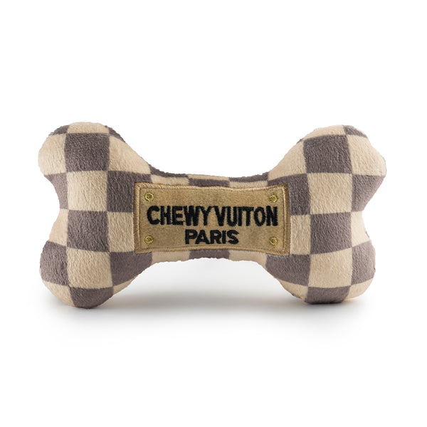 Checker Chewy Vuiton Bone | Plush Toy - Sunday Paws
