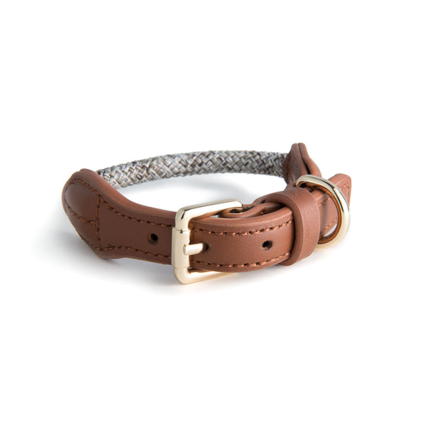 Rope Leather Collar | Bi-Tone Tan on Beige - Sunday Paws