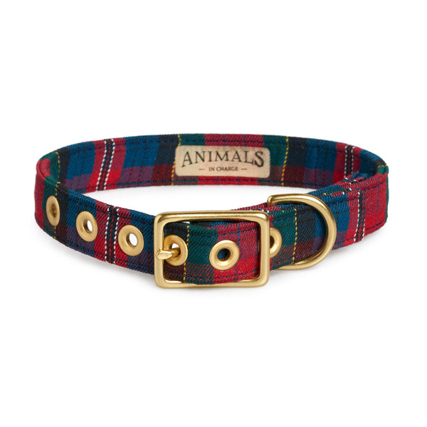 Red Tartan + Brass Cafe Collar - Sunday Paws