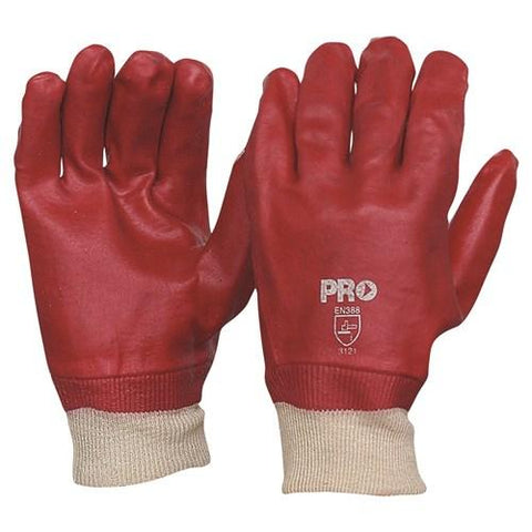 27cm Red PVC/Knit Wrist Gloves Large - Pack of 12 PAIRS-ProChoice-Task Supplies