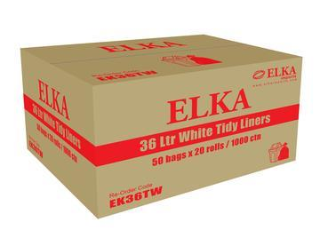 36L White Tidy Liners on Rolls - Carton of 1000-ELKA-Task Supplies
